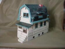 VINTAGE HANDMADE FOLK ART WOODEN BARN LOOK COTTAGE 2 STORY HOUSE
