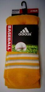 Adidas Baseball Socks 2 Pack Gold/White Men's Size Medium