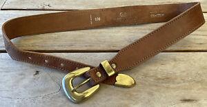 Sportsgirl Tan Brown Real Leather Gold Tone Buckle Women's Belt Size 28 30 EUC