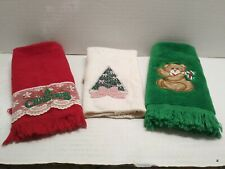 "Christmas vintage look hand towels & cloth Tree Bear  ""Christmas"" green red pink"