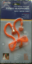 Stereo Headphones one metre cable 3.5mm Jack Orange sport MP3 Personal CD Radio