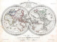1848 BARBIE du BOCAGE MAP MONDE hémisphères Poster Art Print 2889pylv