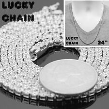 """925 STERLING SILVER ICED OUT TENNIS CHAIN NECKLACE 24""""x3mm 29g PC37"""