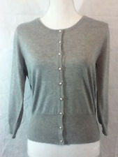 Audrey & Grace Cardigan Gray Button Down Cropped Sweater Sz Med Lightweight NWT
