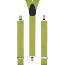 Microdots Yellow Spotted Clip On Trouser Braces Elastic Suspenders Handmade UK