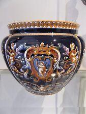 Beau cache pot faience Gien renaissance bleu (flowerpot)  diam 21cm