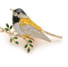 BRAND NEW 18K GOLD PLATED YELLOW & BLACK ENAMEL & RHINESTONE FINCH BIRD BROOCH