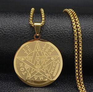 Tetragrammaton Pentagram Star Amulet Medal Pendant Necklace Stainless Steel