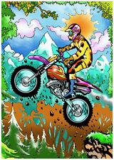 Tableau à colorier en velours - MOTO - Neuf
