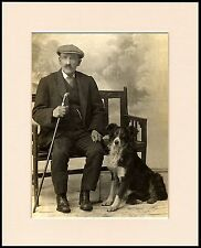 BORDER COLLIE AND ELDERLY GENTLEMAN OWNER DOG PHOTO PRINT MOUNTED READY TO FRAME
