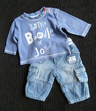 Baby clothes BOY newborn 0-1m denim-look cotton trousers/top 2nd item post-free!