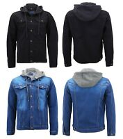 Men's Classic Button Up Removable Hood Slim Fit Stretch Denim Jean Jacket