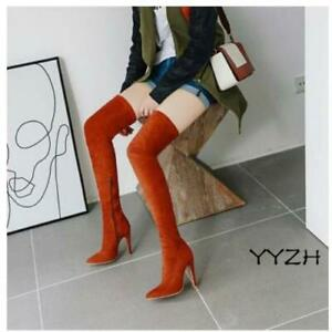 Womens Over The Knee Thigh Stilettos High Heel Pointed Clubwear Party Sexy Boots