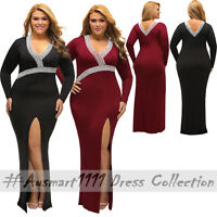 Plus Sz Long Sleeve V Neck Crochet Slit Maxi Formal Gown Evening Party Dress