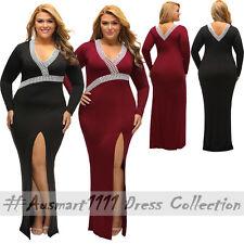 Plus Sz Long Sleeve V Neck Crochet Slit Maxi Formal Gown Evening Party Dress