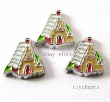 10pcs Gingerbread House Floating Charms Fit Memory Living Glass Locket FC326
