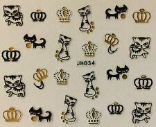 Nail Art 3D Decal Stickers Royal Cat Kitten Crown JH034