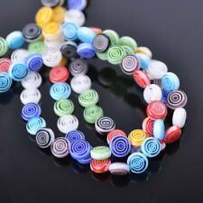 50pcs 8mm Circles Coin Colorful Millefiori Glass Loose Spacer DIY Craft Beads