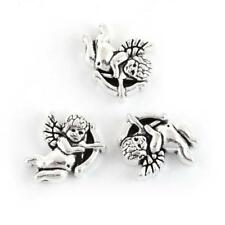 10 Angel Spacer Beads - Cupids - 12mm - Antique Silver Alloy Angels Cherubs