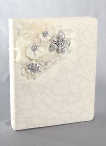 Genevieve Vintage White Ivory Satin Pearl Rhinestone Wedding Memory Album