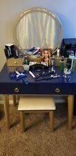 Vanity set with stool and mirror by Everly Quinn. Color: Navy Blue.