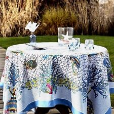 "BEAUVILLE, AQUARIUS FRENCH TABLECLOTH, 67"" X 94"" ,100% SATIN COTTON, NEW IN BOX"