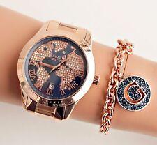 Original Michael Kors Uhr Damenuhr MK6395 Layton Weltkarte Rose Gold/Blau NEU!