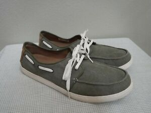 Men's TOMS 11.5 44.5 Green Canvas Moccasin Lace Up Deck Boat Oxfords Shoes