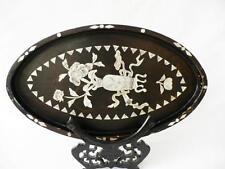 19th C GIAPPONESE PERIODO MEIJI Nero Laccato ovale in legno vassoio con intarsio Protettive