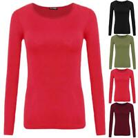 Womens Ladies Plain Round Neck Casual Long Sleeve Stretchy Basic T Shirt Tee Top