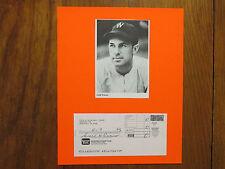 CECIL TRAVIS(Died in 2006)Washington Senators-Signed Deposit Slip w/8X10 Display