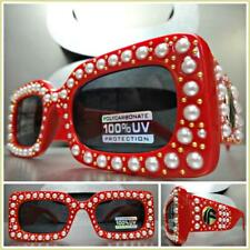 CLASSIC VINTAGE RETRO Style SUN GLASSES Thick Rectangular Red Frame Bling Pearl
