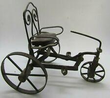 "Vintage Metal & Wood Miniature Doll Tricycle 7"" Tall W2-21"