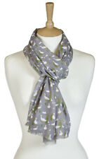 Quintessential Scarves Blue Grey Cream Cat Cats Fox Foxes Boat Duck Ducks Scarf