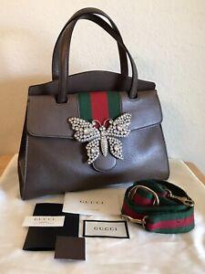 Gucci Totem Butterfly Web Stripe Handbag Brown Red Green 2 Way Medium Tote Bag