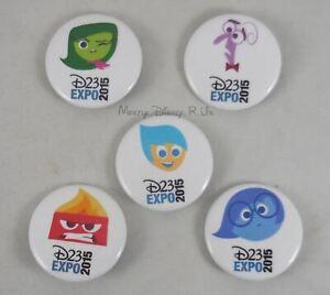 "New Disney Pixar D23 Expo 2015 Inside Out 1.25"" Button Pin Back Pinback 5 Set"
