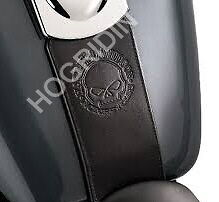 Harley softail dyna wide glide willie g skull embossed leather tank panel bib