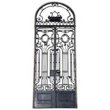 Antique French Beaux-Arts Wrought Iron Double Door & Arched Transom c. 1890