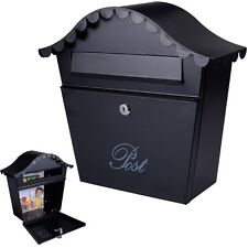 Wall Mount Black Mail Box  w/ Retrieval Door & 2 Keys Steel  MailBox New