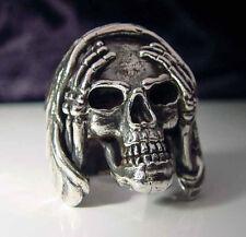 Stainless Steel Skull Hear no Evil Biker Ring Custom Size Occult Voodoo R-11ss