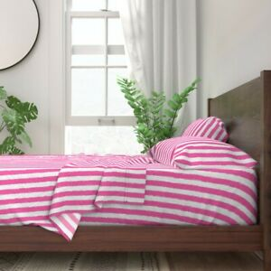 Bright Pink Stripe Watercolor Stripes 100% Cotton Sateen Sheet Set by Roostery