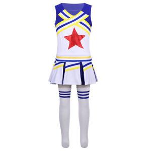 Girls Cheerleader Outfits Costume Uniform Children Fancy Dress School Clothes