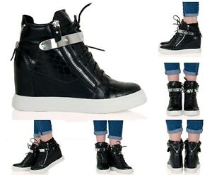 Lacey Womens Hidden Wedge Heel Zip Up Lace Up Trainers Fashion Ladies ZFY8200