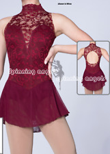 Ice Figure Skating Dresses Custom  Competition burgundy lace un-beaded girl's