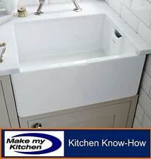 Rangemaster Farmhouse Ceramic Belfast Sink Single Bowl CFBL595WH Inc Waste Kit