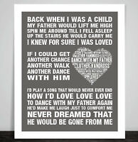 Luther Vandross Dance with my Father Music Love Song Lyric Print Memorial Gift