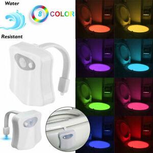 8 Color Rotate LED Toilet Seat Light Motion Lights Detection Flexible Arm Lamp