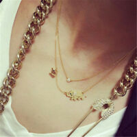 Fashion Elephant Rhinestone Pendant Chain Choker Gold Necklace Women Jewelry