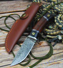 Hunting Handmade Knife Forged Damascus Steel Tactical Blade Wood Handle Leather