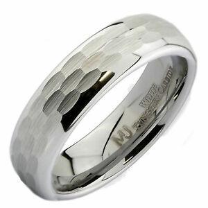 White Tungsten Carbide Hammered Center 6mm or 8mm Wedding Band Ring